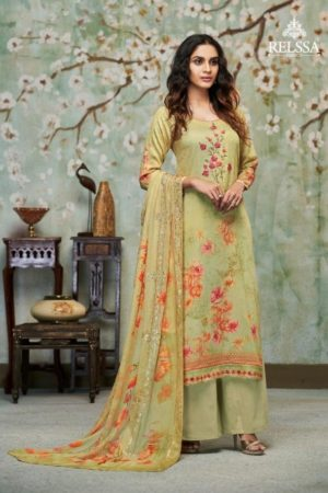 Relssa Fabrics Presents Kiran Superior Cotton Satin Digital Print With Embroidery Salwaar Suit 6104