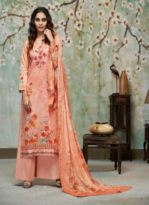 Relssa Fabrics Presents Kiran Superior Cotton Satin Digital Print With Embroidery Salwaar Suit 6106