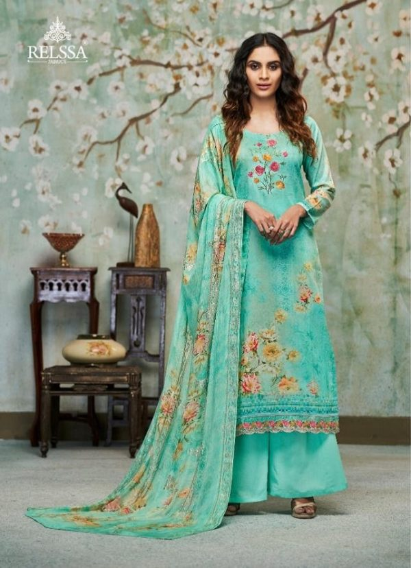 Relssa Fabrics Presents Kiran Superior Cotton Satin Digital Print With Embroidery Salwaar Suits 6107