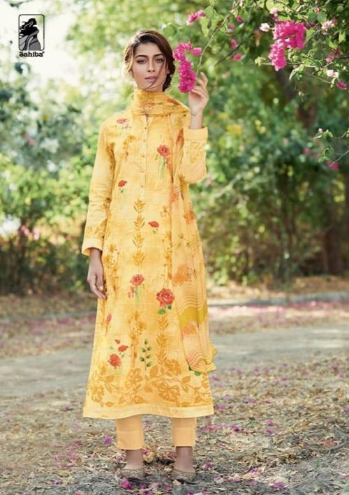 Sahiba Presents Peach Florals Cambric Digital Print With Embroidery Salwaar Suits 712