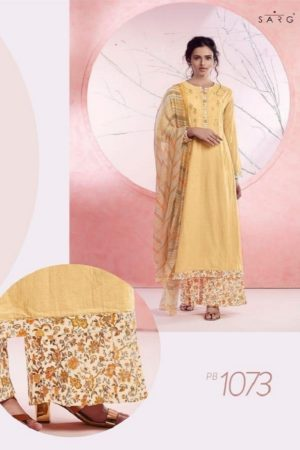 Sahiba Sarg Presents Peach Basket Cotton Lawn Digital Print With Embroidery Salwaar Suit PB 1073