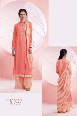 Sahiba Sarg Presents Peach Basket Cotton Lawn Digital Print With Embroidery Salwaar Suits PB 1097