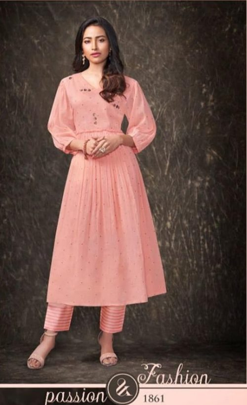 Shai Presents Dreamiss Pure Cotton Mal Embroidered With HandWork With Inner Kurti With Plazzo 1861
