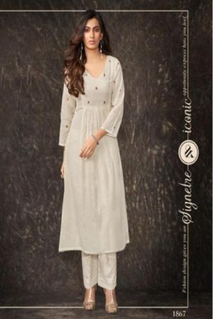 Shai Presents Dreamiss Pure Cotton Mal Embroidered With HandWork With Inner Kurti With Plazzo 1867