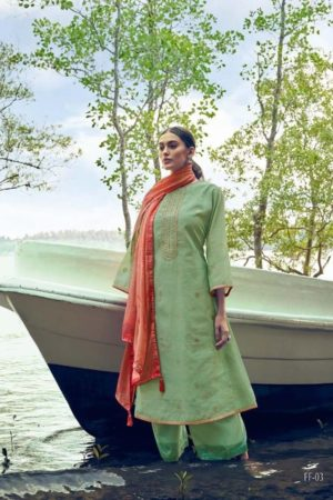 Varshaa Fashion Presents Flavours Of Fusion Kora Weaving With Embroidery Salwaar Suit 03