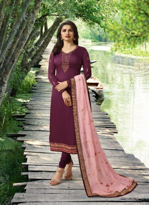 Vinay Fashion Presents Impression Hit List Georgrette Satin With Embroidery Salwaar Suit 8168