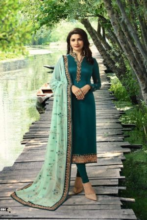 Vinay Fashion Presents Impression Hit List Georgrette Satin With Embroidery Salwaar Suits 8164
