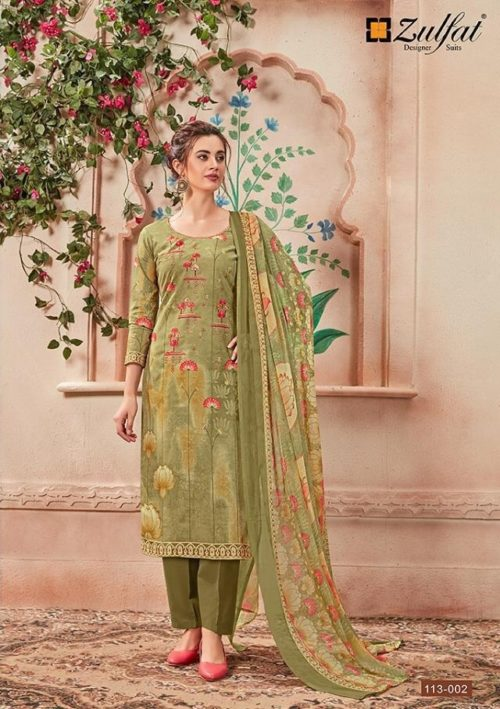 Zulfat Designer Presents Sanna Pure Cotton Print With Heavy Embroidery Salwaar Suit 113-002