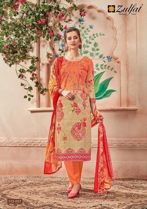 Zulfat Designer Presents Sanna Pure Cotton Print With Heavy Embroidery Salwaar Suits 113-007