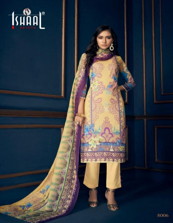 Buy Ishaal Prints Gulmohar Vol 8 Pure Lawn Printed Suit 8006
