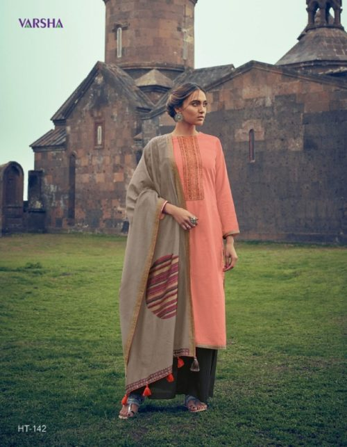 Buy Varsha Handloom Tales Edition 3 Muslin Solid Embroidered & With Weave Borders Suit HT-142