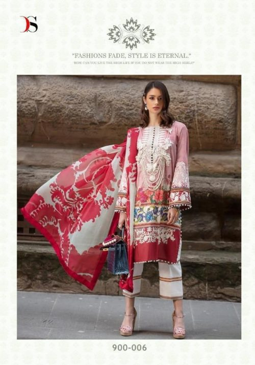 Deepsy Presents Sana Safinaz Lawan 19 Pure Cotton N Butterfly Net With Heavy Embroidery Suit 900-006