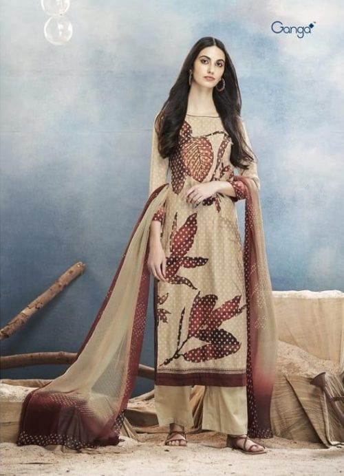Ganga Presents Aster Pure Bemberg Silk Digital Print With Extra Sleeves And Embroidery Work And Hand Work And Sarovski Work Suit 7615
