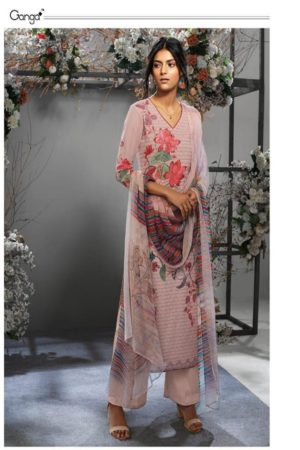 Ganga Presents Take The Wind Cotton Lawn Print With Extra Sleeves & Sarvoski Work & front Embroidery Suit 7634