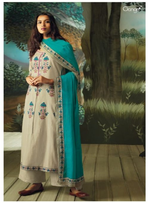 Ganga Presents Vana Cotton Lawn Printed With Extra Sleeves & Emb. & Handmade Button Work SuitS 7710