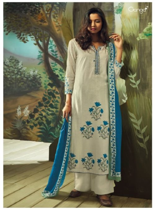 Ganga Presents Vana Cotton Lawn Printed With Extra Sleeves & Emb. & Handmade Button Work SuitS 7712