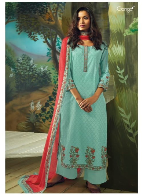 Ganga Presents Vana Cotton Lawn Printed With Extra Sleeves & Emb. & Handmade Button Work SuitS 7714