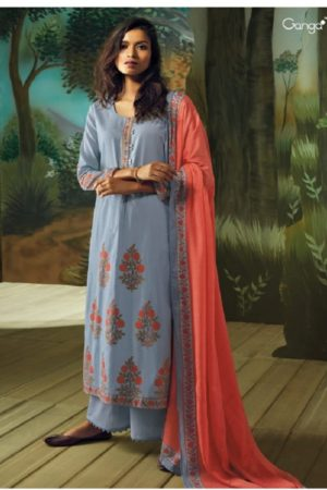 Ganga Presents Vana Cotton Lawn Printed With Extra Sleeves & Emb. & Handmade Button Work SuitS 7716