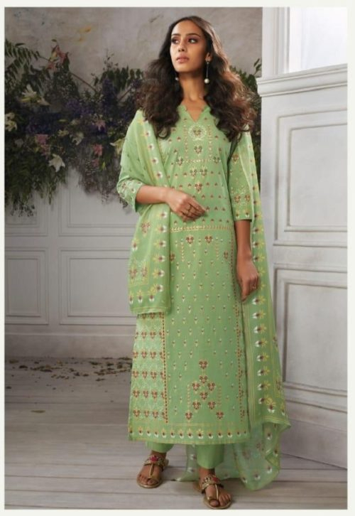 Ganga Reyna Amona Pure Lawn Cotton Print With khatli & Gold With Handwork On Neck Suits 381 B