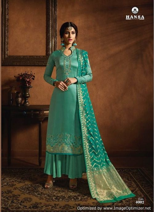 Hansa Presents Husna Banaras 4 Geogette Satin With Inner & Embroidery Suits 4002