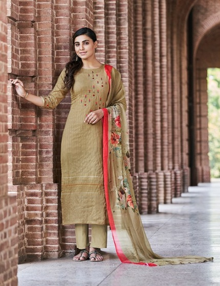 Jay Vijay Presents Enliven Pure Dobby Cotton With Embroidery & Hand Work Suit 4583
