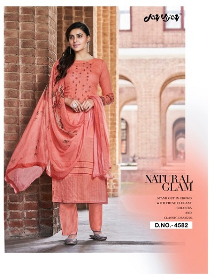 Jay Vijay Presents Enliven Pure Dobby Cotton With Embroidery & Hand Work Suits 4582