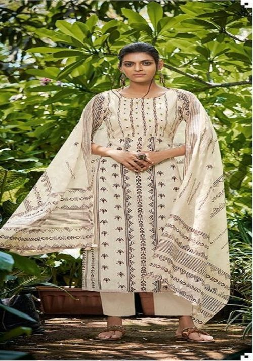 Jay Vijay Presents Lihaaz Pure Cotton Dobby Block Print With Hand Work Salwar Suits 4724