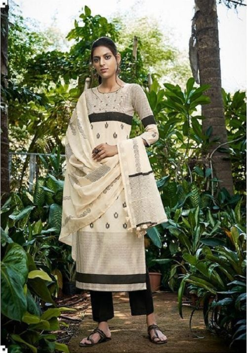 Jay Vijay Presents Lihaaz Pure Cotton Dobby Block Print With Hand Work Salwar Suits 4727