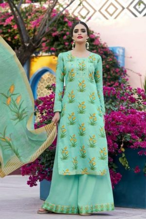 Jinaam Presents Taima Digitally Printed Cotton Satin Suit 8913 - Copy