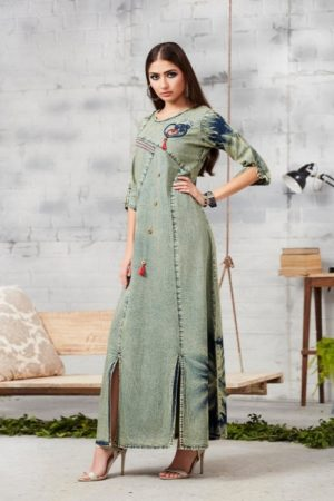 Kajree Blue Lee Vol 2 Embroidered Denim Gown 703