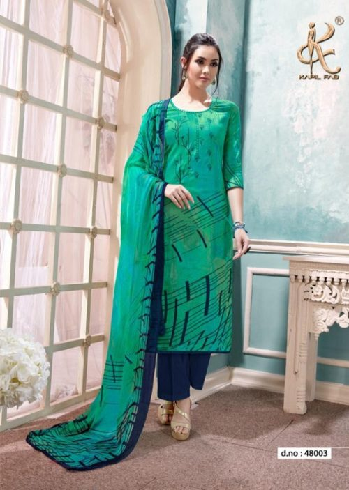 Kapil Fab Presents Falaq Cotton Satin Print With Self Embroidery Suits 48003