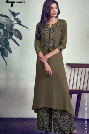 Lt Nitya Glory Rayon Kurtis With Printed Palazzo Suits 105