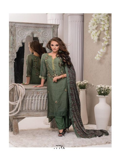 SRI Presents Jiva Fine Creamy Silk with elegant Abhla Embroidery semi stiched inner Suits 776