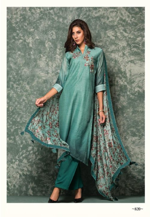 SRI Presents Priyam Chanderi silk With Embroidery Work Salwar Suits 820