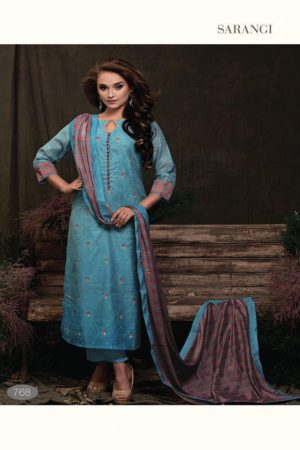 SRI Presents Sarangi Pure Banarasi Chanderi Silk With Exclusive Embroidery & Embroidery placket Neck Suits 768