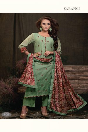 SRI Presents Sarangi Pure Banarasi Chanderi Silk With Exclusive Embroidery & Embroidery placket Neck Suits 769
