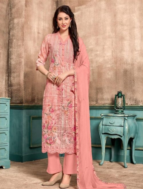 SRI Presents Selvi Full Fine Cotton Embroidery Work With Print Salwaar Suits 1065