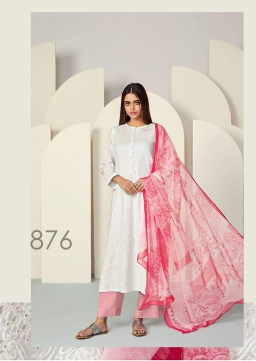 Sahiba Presents Florence Cambric Embroidery Front Digital print with cambric Back & Sleeves Shaded Suits 876