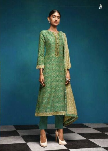 Sahiba Presents Vintage Chanderi Digital Print With Embroidery Salwaar Suit 06