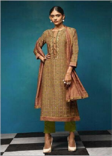 Sahiba Presents Vintage Chanderi Digital Print With Embroidery Salwaar Suit 08