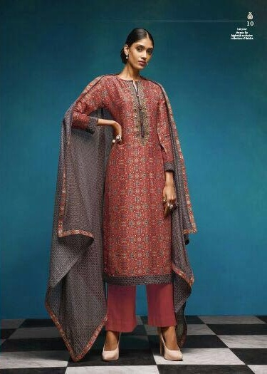 Sahiba Presents Vintage Chanderi Digital Print With Embroidery Salwaar Suit 10