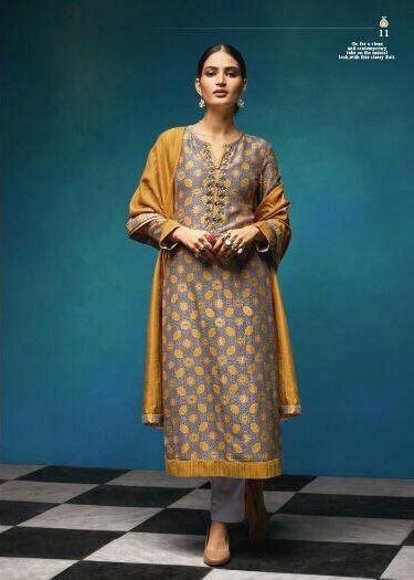 Sahiba Presents Vintage Chanderi Digital Print With Embroidery Salwaar Suit 11