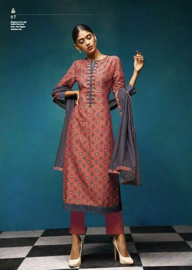 Sahiba Presents Vintage Chanderi Digital Print With Embroidery Salwaar Suits 07