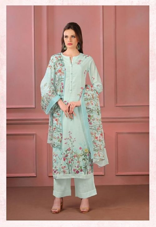 Sahiba Sudrit Presents Timeless Flower Cotton Digital Print With Embroidery salwar suit 218