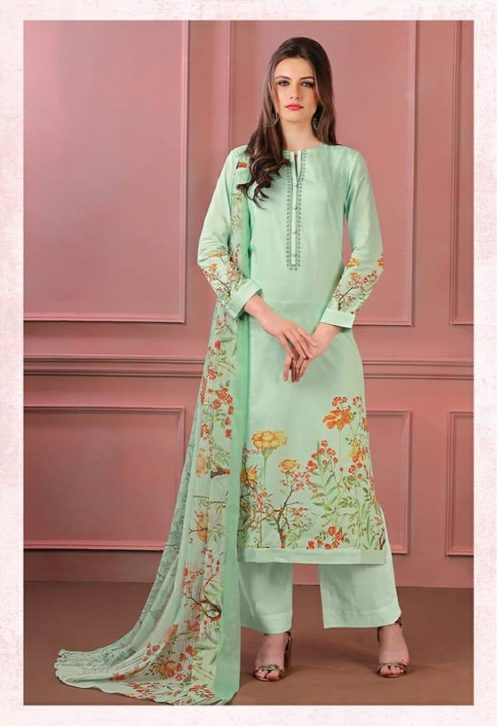 Sahiba Sudrit Presents Timeless Flower Cotton Digital Print With Embroidery salwar suit 239