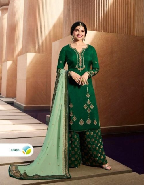 Vinay Fashion Presents Kasheesh Benchmark Georgette Silk With Embroidery Suits 10593