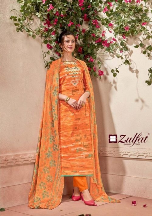 Zulfat Designer Presents Glamour 3 Pure Cotton Prints Salwaar Suit 115-007