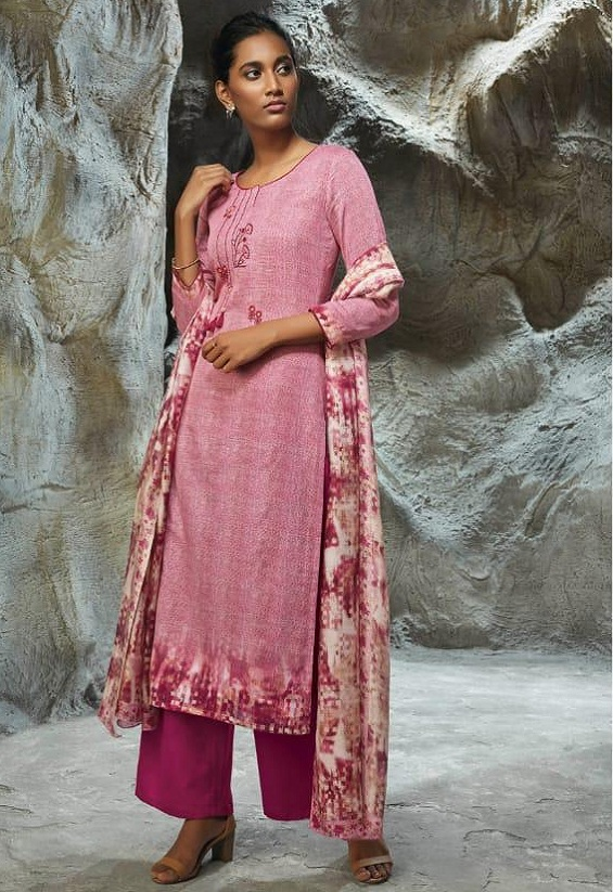Buy Ganga Lilith Finest Modal Satin Printed With Embroidery Work Salwar Suit 7754