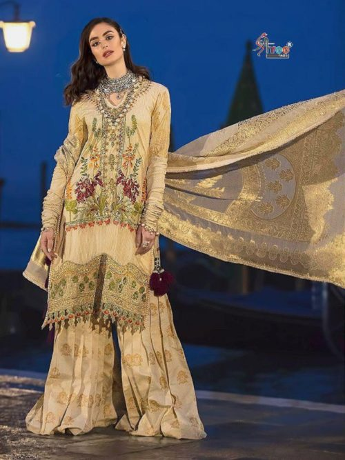 Buy Shree Fabs Sana Safinaz Premium Lawn Collection Cotton with self Embroidery suit 5108