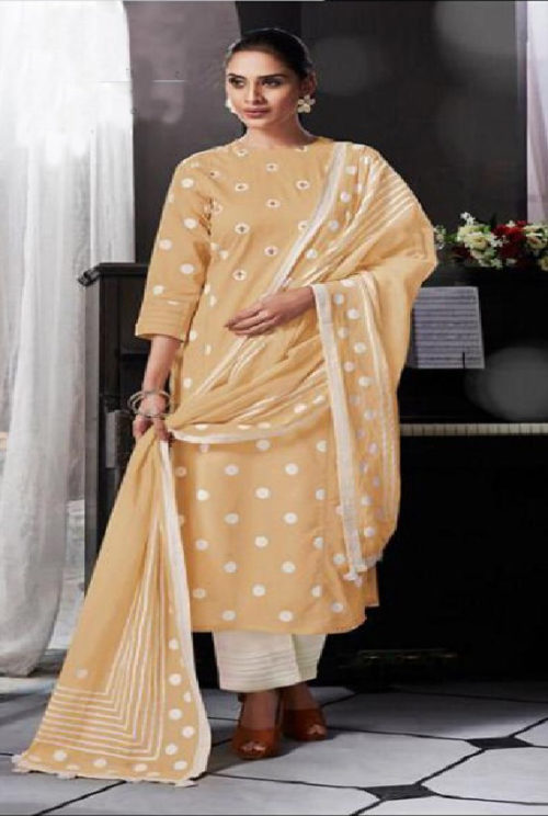Intrigue Presents Handwork Collection Pure Cotton Print With Hand Work Suit